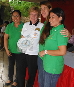Elaine Lytle at a school in the Philippines her club is supporting through a service project.