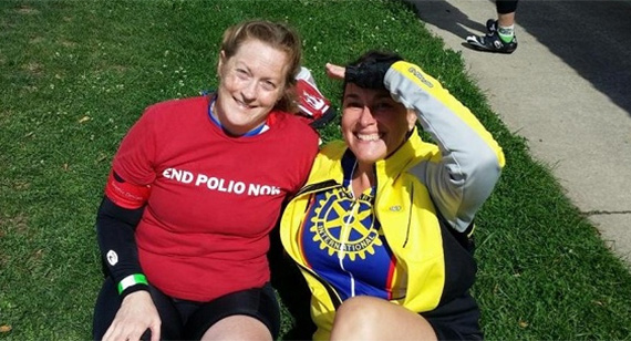 Kristin Brown, left, and Marga Hewko, wife of Rotary General Secretary John Hewko, take a break during the North Shore Century ride.