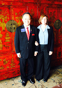 Tara Strunk, right, and Rotary President Gary C.K. Huang at the Shanghai conference.