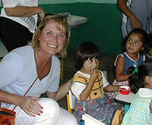 Brenda Cressey volunteering at a day care in Mexico.