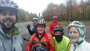 The Miles to End Polio team during a chilly training ride.