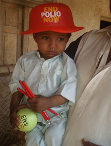 A child who has tested positive for polio in Pakistan.