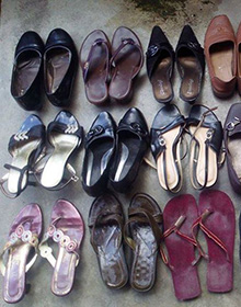 Shoes collected during the drive.