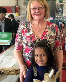 Susanne Rea and a friend during her visit to India.