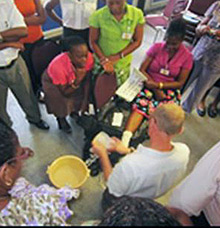 Patients with diabetes receive foot care on the Caribbean island of Dominica.