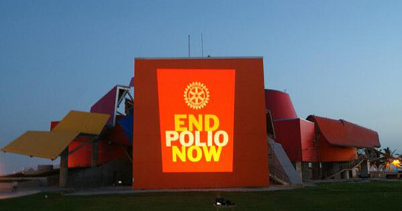 Rotary members in Panama City, Panama, celebrated Rotary's anniversary last year by lighting up the Biodiversity Museum with the End Polio Now logo.