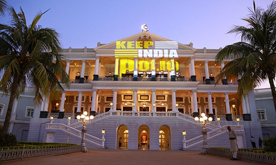 Rotary members in District 3150 India celebrate by illuminating the Falaknuma Palace.