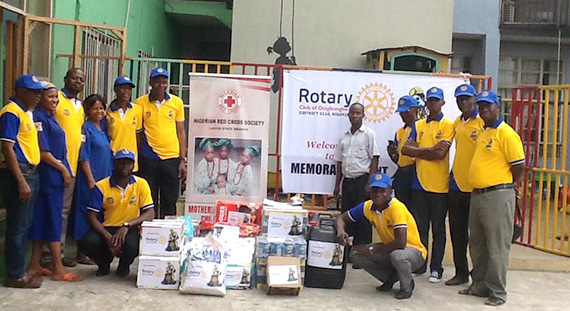 Members of the Rotary Club of Onigbongbo at the Red Cross Orphanage