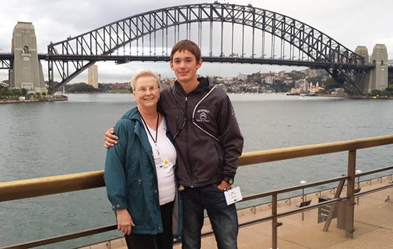 Harriett Schloer and her grandson, Will Beaudry, in Sydney Harbor.