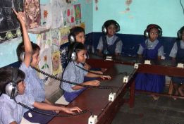 Students use the sound proof therapy room at the school for the deaf and mute.