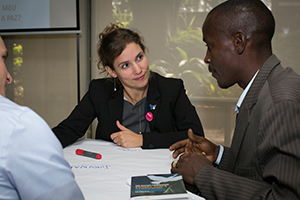 Attendees discuss partnering for peace durign the World Café. Photo by Monika Lozinska/Rotary International