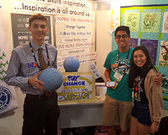 Interactors from California show off a  high-tech indestructible rubber soccer ball in the House of Friendship.
