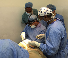 Members of the vocational training team of eye specialists from India perform an eye surgery in Ethiopia. Photo courtesy Rotary District 3140