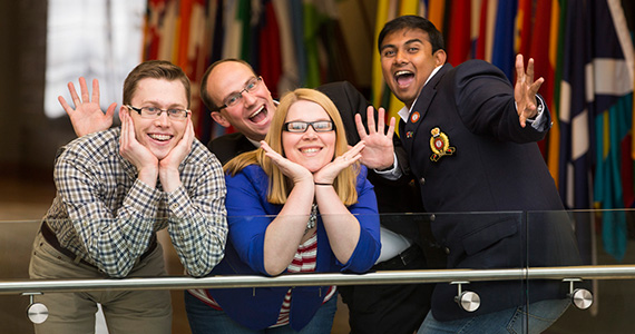 David Postic, left, and other members of the Rotaract and Interact Committee had fun posing for this photo in December at Rotary's headquarters in Evanston, Illinois, USA. Rotary International/Alyce Henson