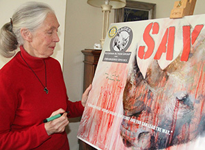 "Jane Goodall joins the Rotarian Action Group for Endangered Species' ""Say No!"" campaign to promote animal conservation. Photo courtesy of RAGES"