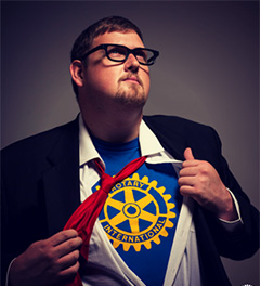 "Evan Burrell reveals his ""superhero"" Rotary identity."