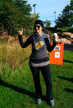 Heidi Resetaritis at a 5K walk/run to promote health and fitness and raise money for PolioPlus.