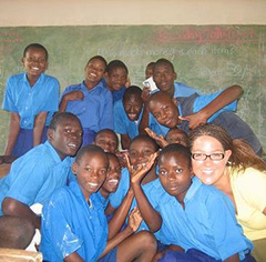 Lindsey Griswold and her students at the Gede Special School in Kenya.