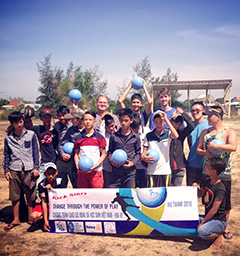 Members of Interact deliver the durable soccer balls in Vietnam.
