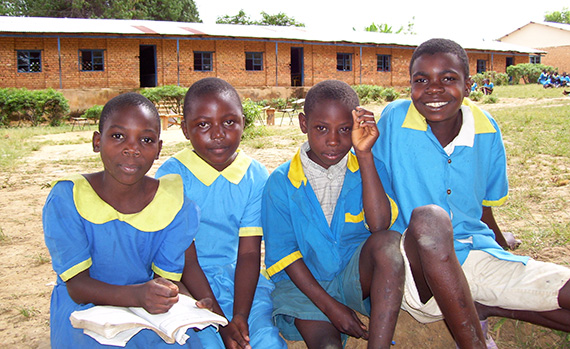 Students at a school recently equipped with toilets.