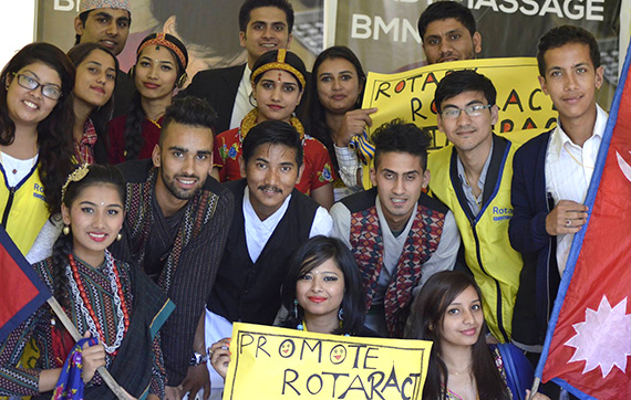 Members of the Rotaract Club of Phulbari, Nepal.