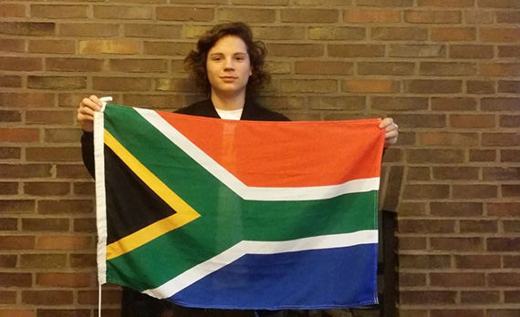 Ronan Morgan and South African flag