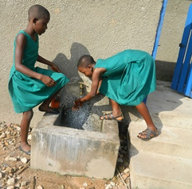 School children at spigot in Volta