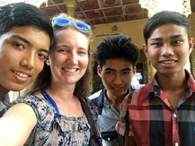 Rachel Hall Beecroft with local Myanmar youth