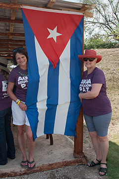 Women with Cuban flag