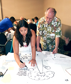 Participants in the summit draw their ideas on paper.