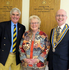 Ann Syrett, middle, with Past District Governor Ron Lucas and David Riley, president of the Rotary Club of Newcastle under Lyme