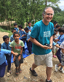 Kaufman and children in Nepal