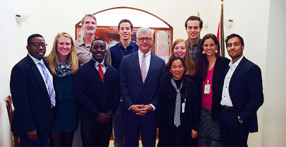 Sarah Sanderson and other embassy interns