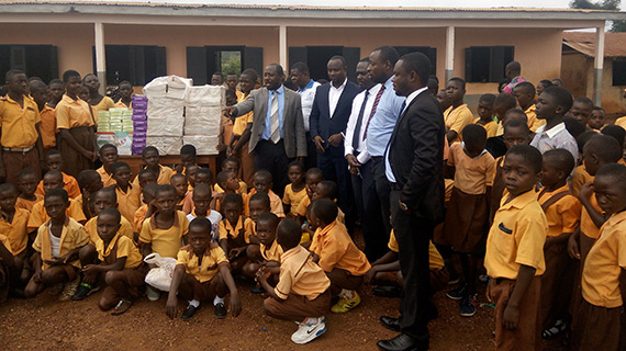 Our neighboring club, Sunyani East, presented exercise books and other supplies to students at Nwawasua school.