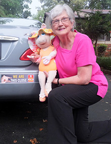 Nancy Wright Beasley with her favorite muppet, Miss Piggy, spreading the word about polio eradication.