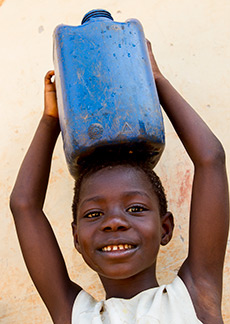 Girl with water container