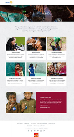 A sneak peak at the new Our Causes page.