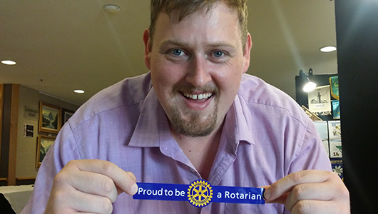 Evan Burrell, proud to be a Rotarian