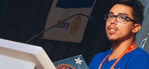 Nercelles at his Rotary club.