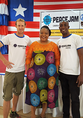d'Arcy, left, with Nobel Peace Laureate Leymah Gbowee and former Rotary Peace Fellow Wisdom Addo at a PeaceJam event in Liberia.
