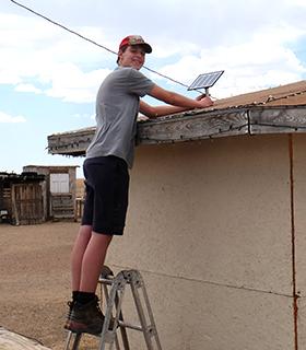 Installing a solar light.