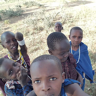 Maasai children take selfie