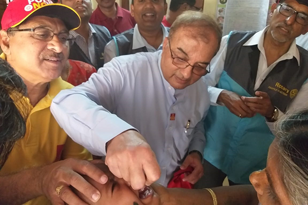 Child received polio drops.